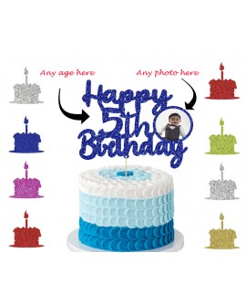 Personalised Glitter Happy Birthday Cake Topper Custom Party Decoration Any age & Photo