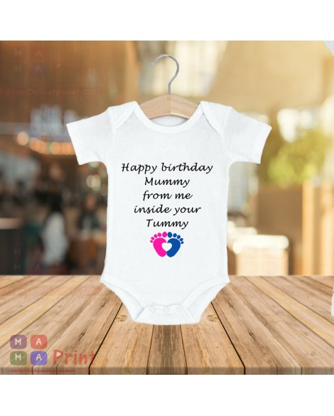 Happy Birthday Mummy from tummy Baby Grow Vest Body Suit Cute mom gift idea