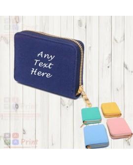 Personalised Women Ladies Fabric Plain colour Wallet Zip Purse Card Clutch
