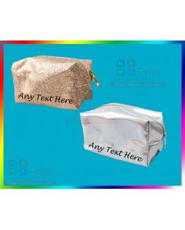 PERSONALISED MAKE UP BAG | Glitter Bag Gift Women Birthday Mum Gift ANY NAME