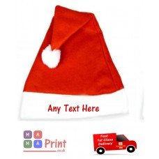 PERSONALISED Printed ADULT SANTA CHRISTMAS HAT - OFFICE PARTY / FANCY DRESS