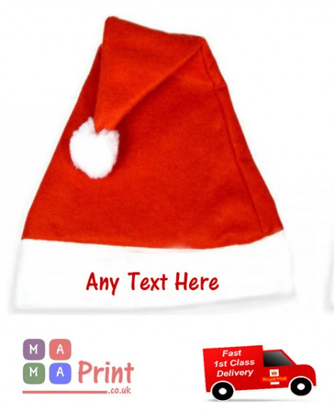 PERSONALISED Printed ADULT SANTA CHRISTMAS HAT - OFFICE PARTY / FANCY DRESS
