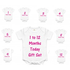 Personalised  Baby Vest Grow / Bodysuit  gift 12 Months set