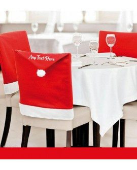 Personalised Christmas Santa Hat Dining Chair Cover Party Table Decoration