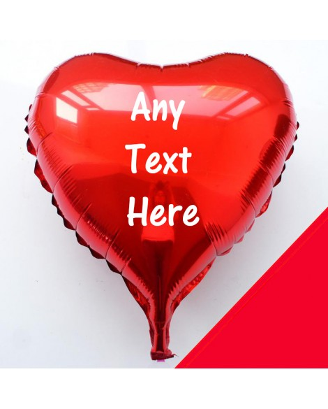 """Personalised 18"""" Heart Foil Helium Balloon Any Text - Choice of colours"""