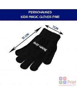 Personalised KIDS Magic Gloves Pair Girls Boys Black Soft Children Unisex