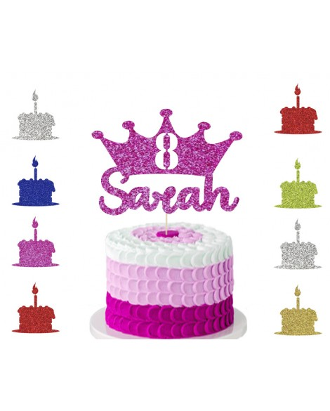 Custom Crown Cake Topper Glitter Cake topper  Personalised Age / Name princess